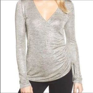 Trouve Metallic Ruched Side Top